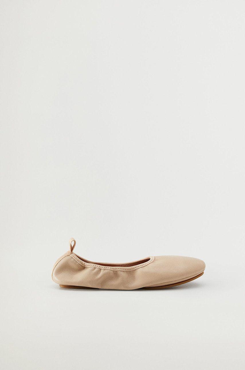 Balerini dama Mango de piele BALLET bej
