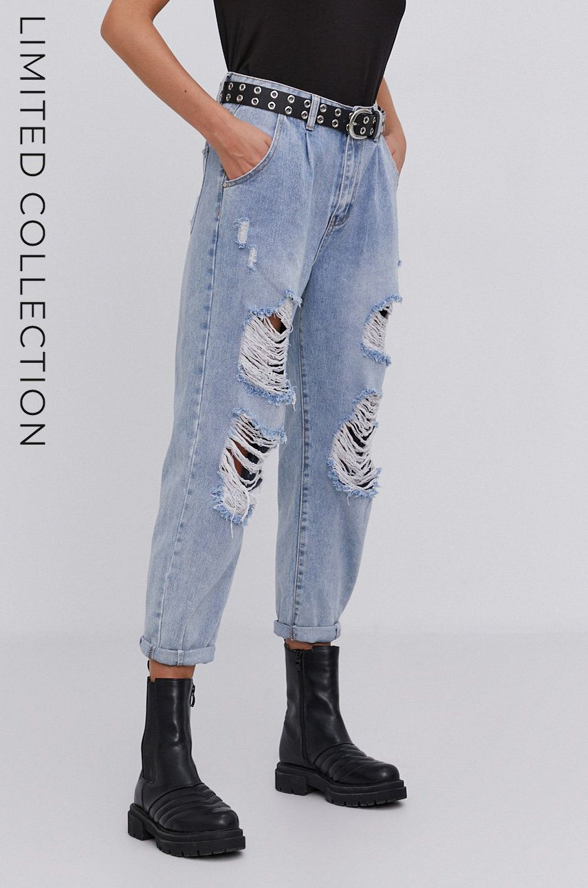 Jeans de bumbac answear.LAB x colectia limitata GIRL POWER