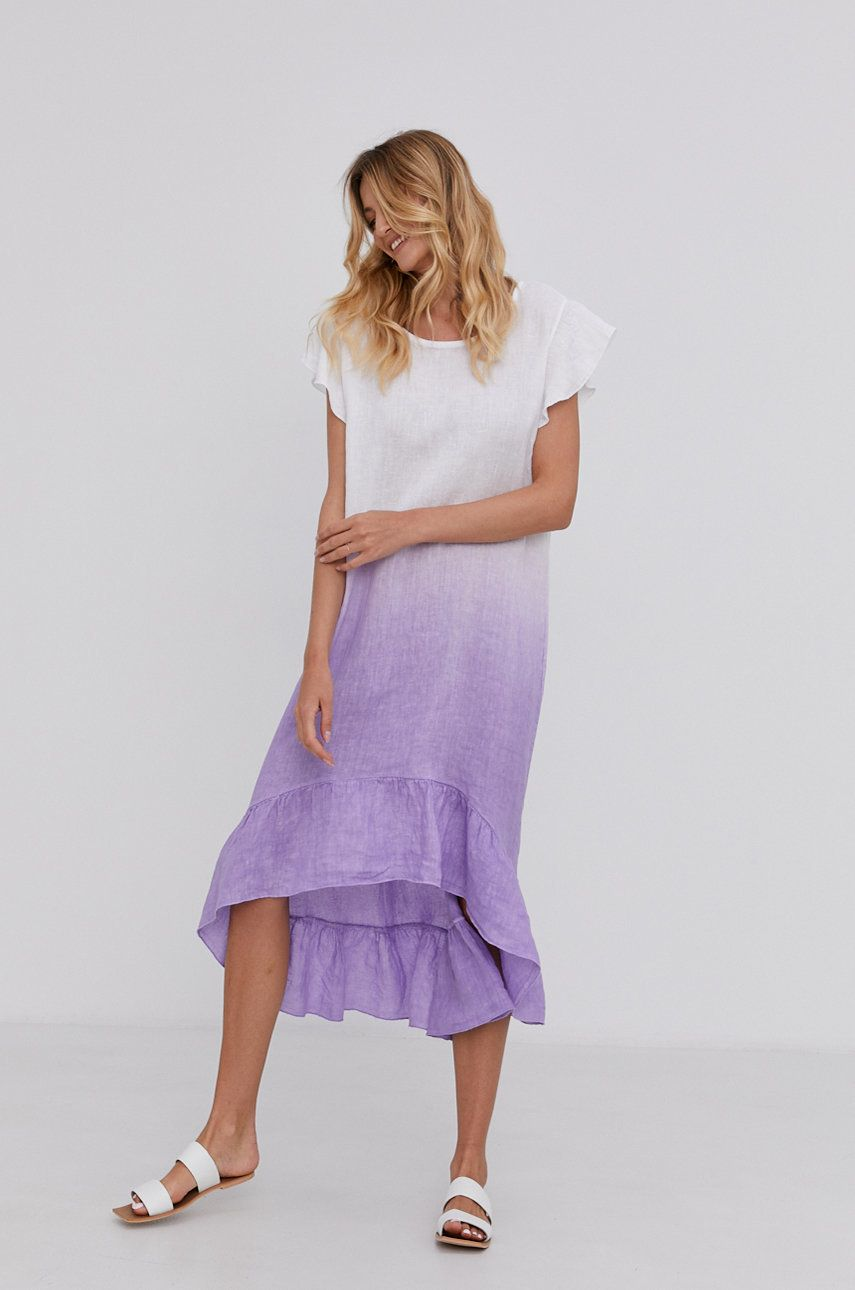 Answear Lab - Rochie din in Pure Linan Hand Crafted