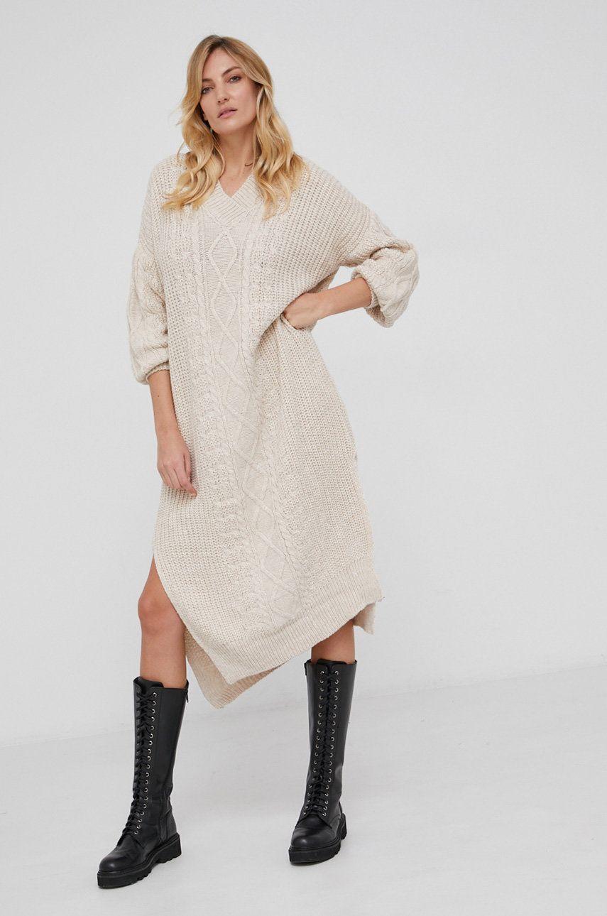 Answear Lab - Rochie din amestec de lana