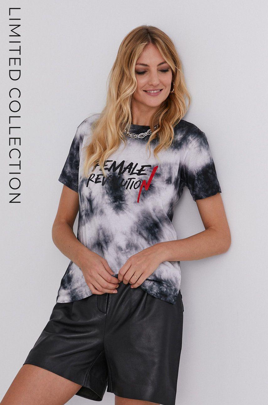 Tricou de bumbac answear.LAB x colectia limitata GIRL POWER, model HAND DYED