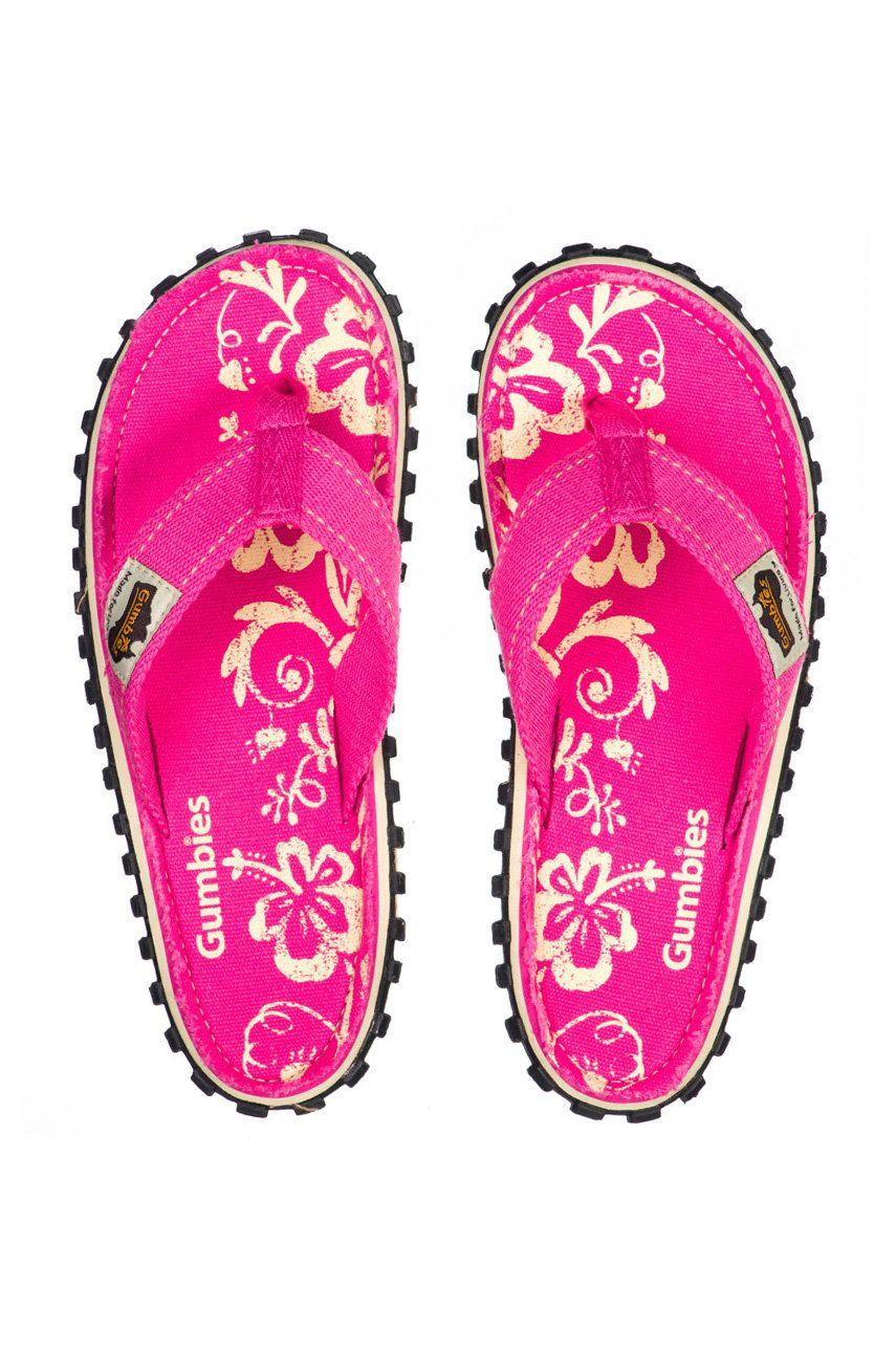 Gumbies - Slapi Islander Pink Hibiscu
