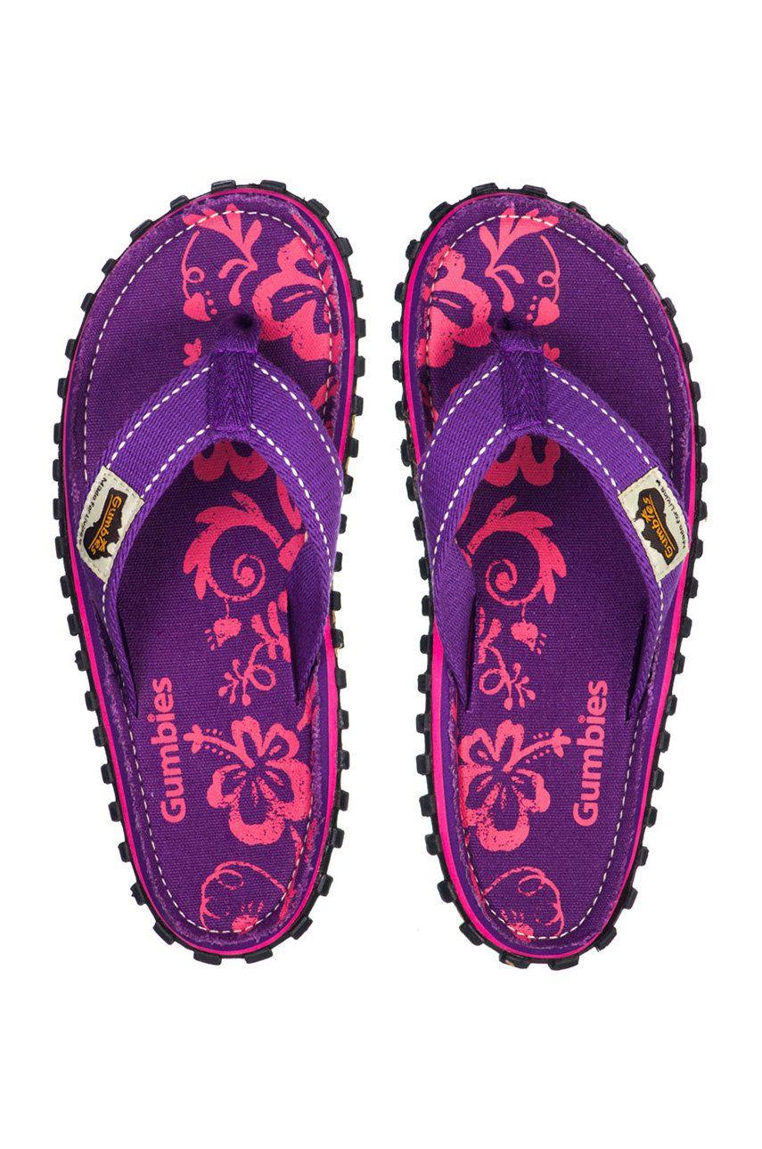 Gumbies - Slapi Islander Purple Hibiscu